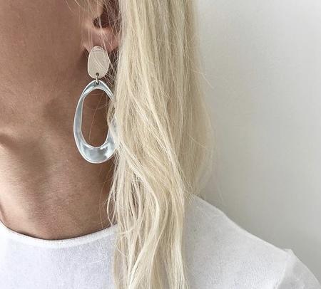 Modern Weaving Odd Oval Earrings - Silver