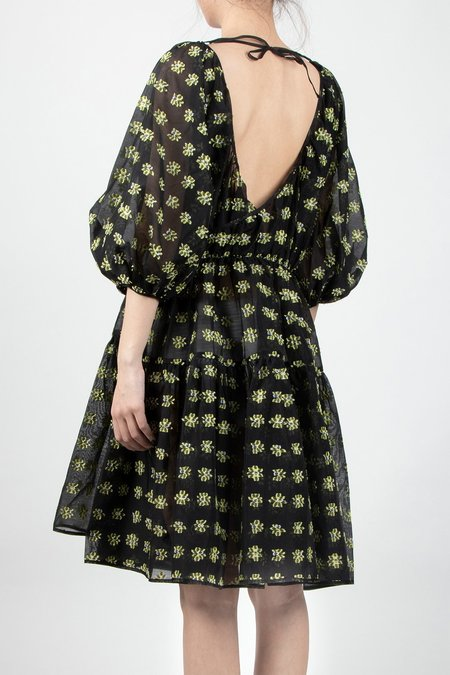 Cecilie Bahnsen Puff Sleeved Wrap Dress - Black/Yellow