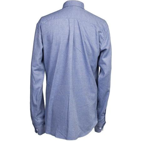 Burrows and Hare Cotton & Wool Blend Flannel Longsleeve Shirt - BLUE