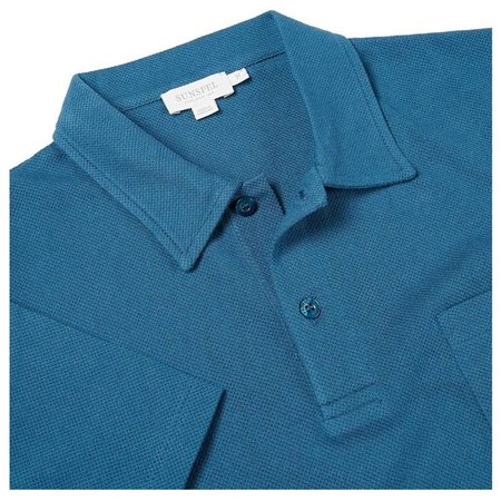 Sunspel Riviera Cotton Shortsleeve Breathable Polo Shirt - Dark Teal
