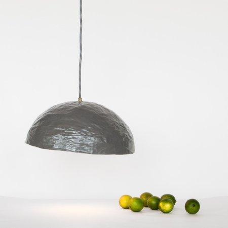 madebyild Paper Mache Hanging Lamp - Grey/Gold