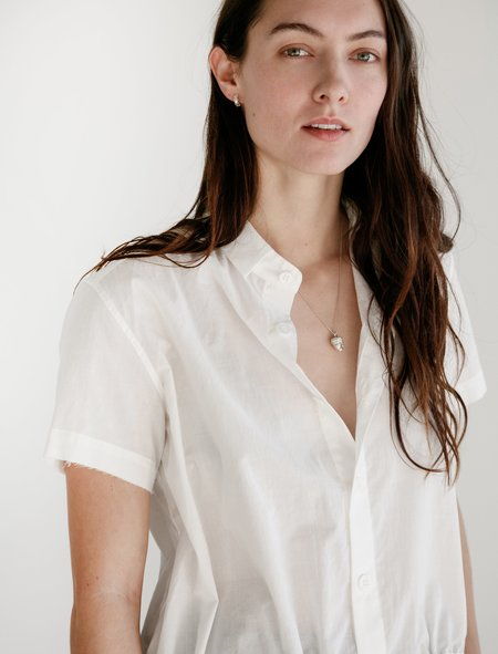 Y's by Yohji Yamamoto Peplum Drawstring Button Down - White