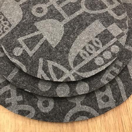 Lorraine Tuson Set of 3 Trivets - Gray