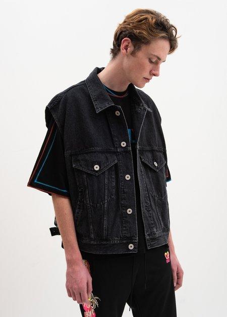 Doublet 3D Tiger Silk Denim Vest - Black