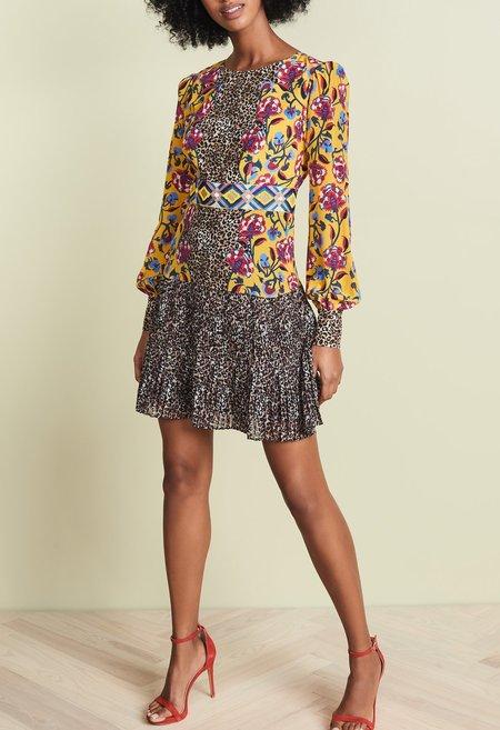 Saloni Vera Mini Dress - Tapestry/Leopard