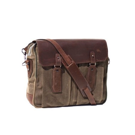 KRANE Design SIEBEL MESSENGER BAG - FIELD TAN WAXED COTTON WITH RUST BROWN LEATHER TRIM