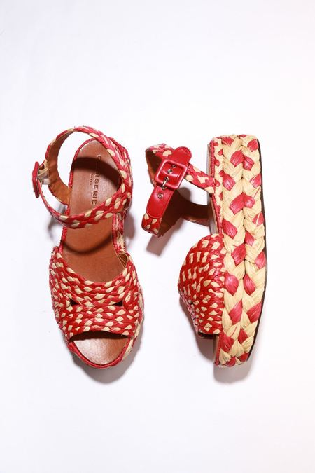Robert Clergerie Artemis Sandals - Red Raffia