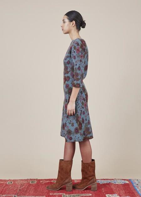 Butapana 3/4 Sleeve Knit Dress - Blue