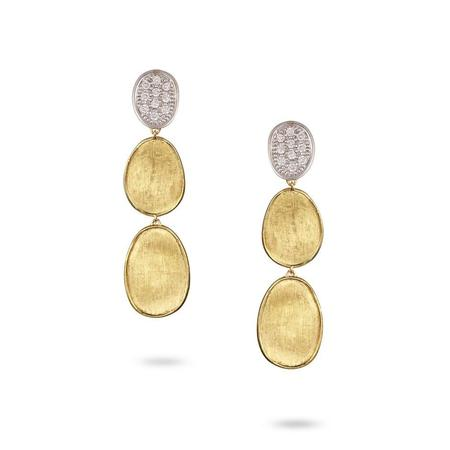 Marco Bicego Lunaria Collection Diamond Pave Small Triple Drop Earrings - 18K Yellow Gold