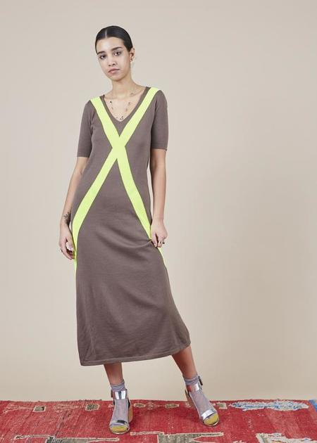 Sartoria Vico Short Sleeve Maxi Dress - brown/yellow