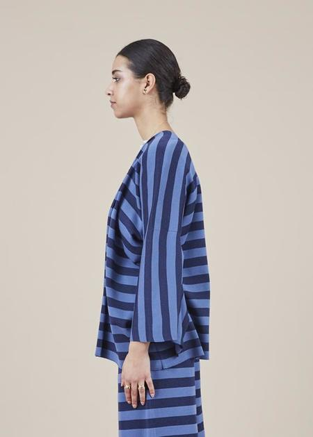 Sartoria Vico Striped Knit Kimono Jacket - blue/indigo