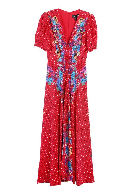 Saloni Lea Long Dress - Scarlett Polka Dot