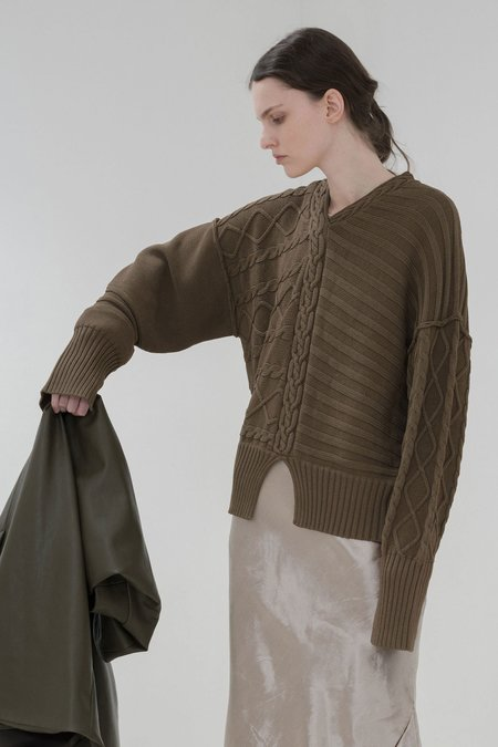 Nomia Deconstructed Cable Knit Sweater - Olive