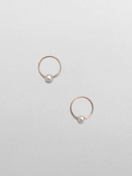 IGWT Jewelry Pearl Sleeper Hoops - Gold