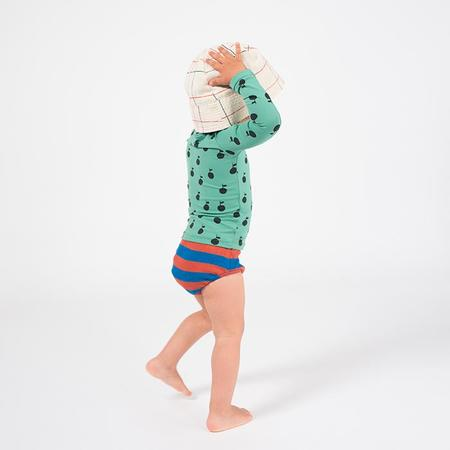 KIDS Bobo Choses Baby Two Piece Swim Suit With Rashguard And Bottoms - Apples Print Green