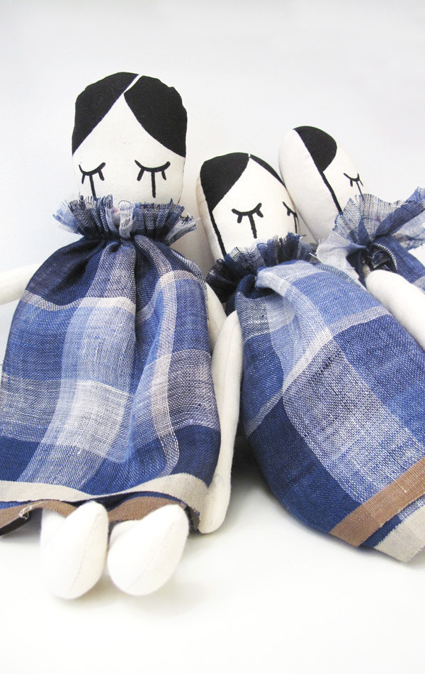 Kid's Two Silkscreened Doll with Plaid Linen Dress