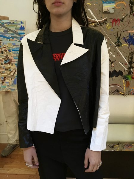 Alexa Stark Tyvek Crop Jacket - Black/White