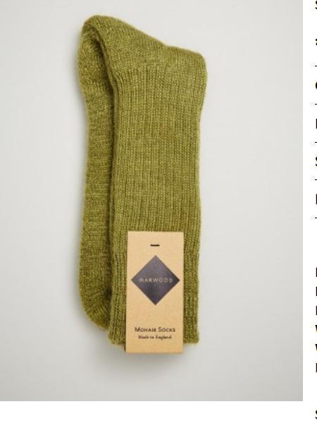 Marwood Heavy Knit Mohair Socks - Sea Green
