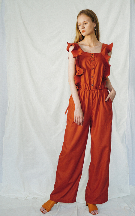 ENSEMBLE THE LABEL GLADIOLA JUMPSUIT - TERRACOTTA