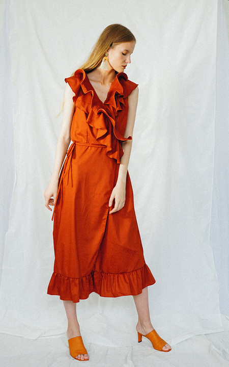 ENSEMBLE THE LABEL GLADIOLA WRAP DRESS - TERRACOTTA