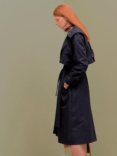 CITYBREEZE Overfit Trench Coat - Black