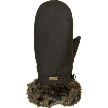 Barbour Wax with Fur Trim Mittens - Olive