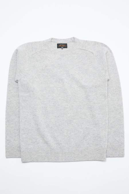 Beams+ 7G Lambswool Crew Knit - Grey