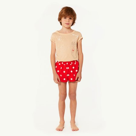 KIDS The Animals Observatory Puppy Swim Trunks - Red Polka Dots