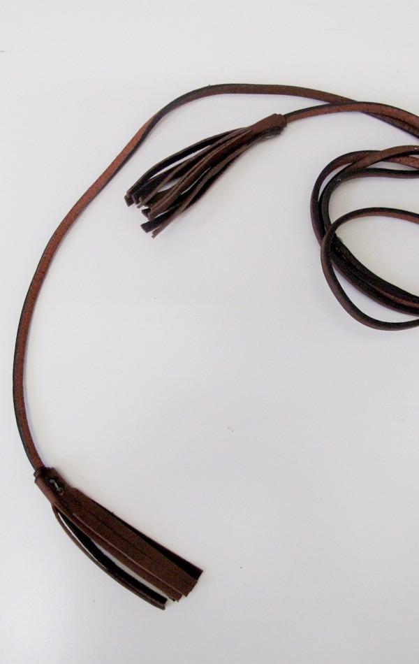 De Palma Leather Skinny tassel belt
