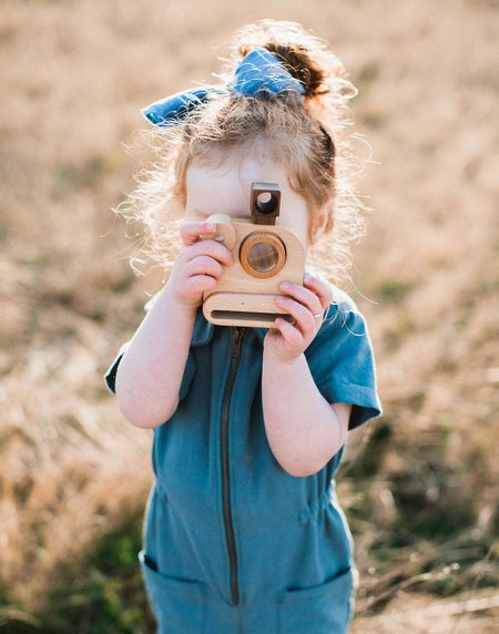 Father's Factory Wooden Polaroid Toy Camera w/ Kaleidoscope Lens