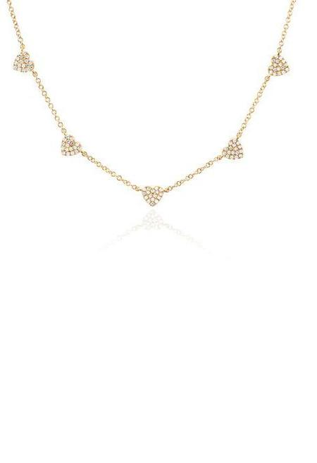 EF Collection 5 Mini Diamond Heart Necklace - 14K Gold