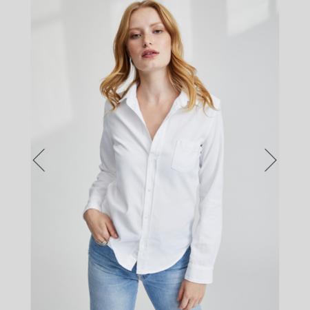 Frank & Eileen Barry Italian Indigo Denim Button Up Shirt - White