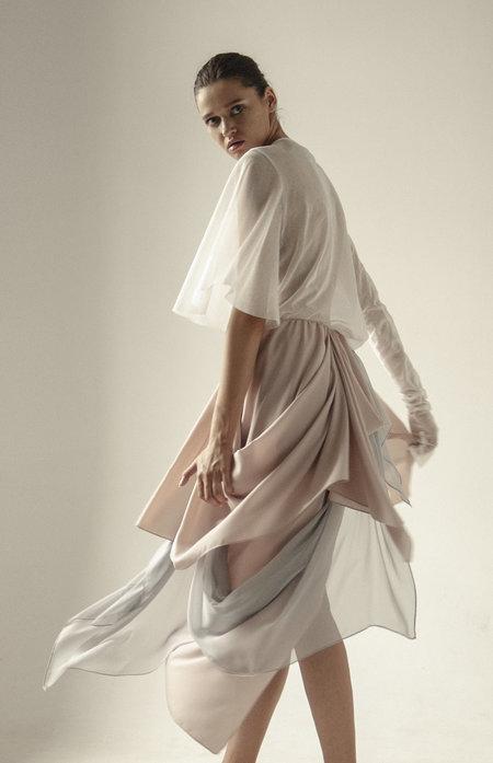 K M by L A N G E Vintage Fabric Hvosty Asymmetric Skirt