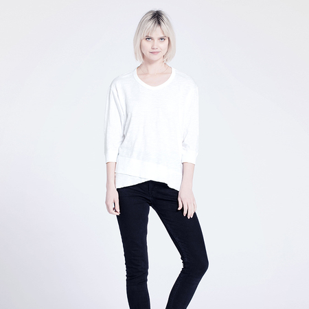 Wilt Mock Hem 3/4 Sleeve Top - White