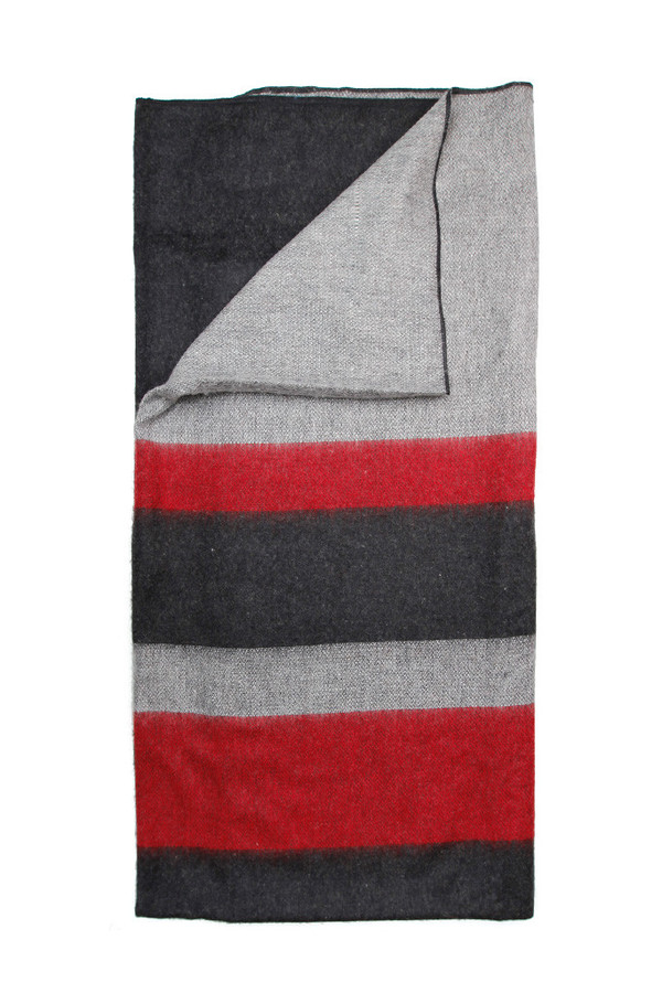 Alpaca Wool Blanket Charcoal Red Stripe