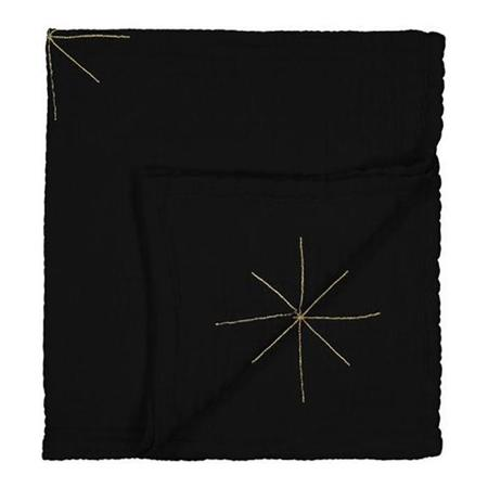 KIDS Moumout Paris Panpan Blanket With Embroidered Gold Stars - Ink Black
