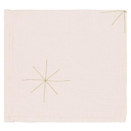 KIDS Moumout Paris Panpan Blanket With Embroidered Gold Stars - Milk White