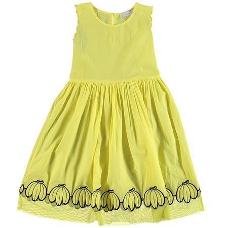 KIDS Stella McCartney Child Dress With Embroidered Bananas -  Yellow