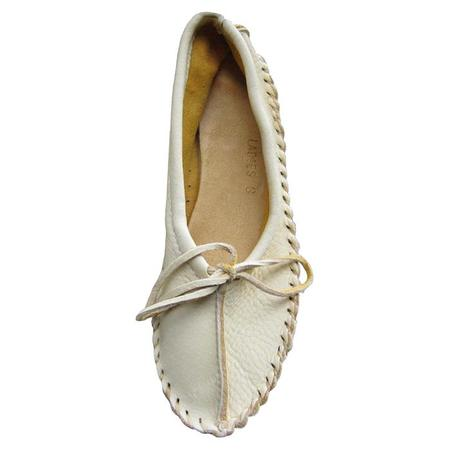 Hides In Hand Moccasin Ballet Slippers - Cream
