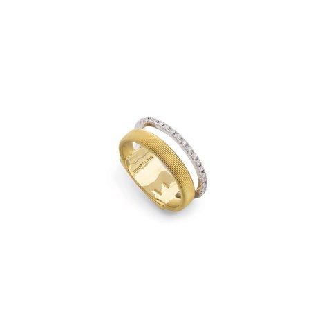 Marco Bicego Goa 18K Two Row Pave Diamond Ring - Yellow/White Gold