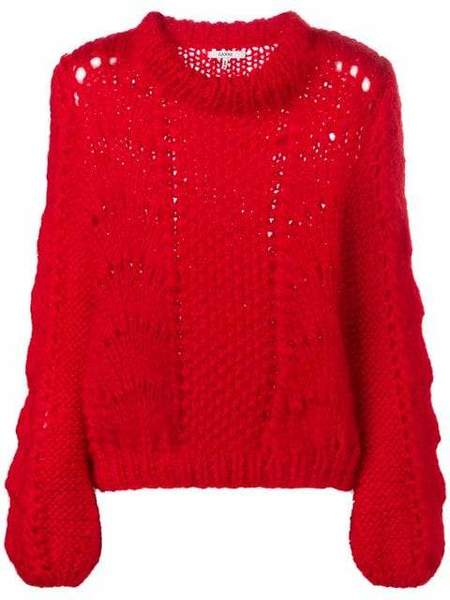 Ganni Hand Knit Wool Sweater - Fiery Red