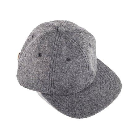 Viberg Six Panel Wool Hat with Shell Cordovan Strap - Grey