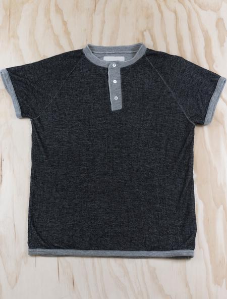 V :: ROOM Mini Fleece Short Sleeve Henley - Black