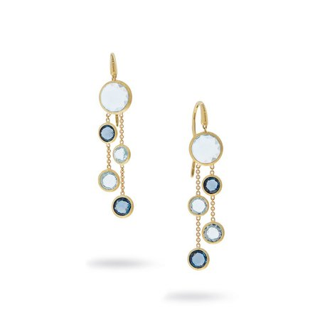 Marco Bicego Jaipur Mixed Blue Topaz Two Strand Earrings - 18K Yellow Gold