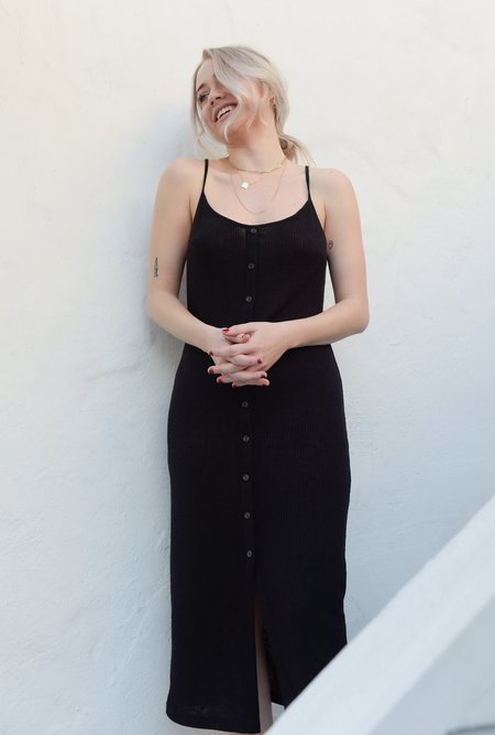 Azalea Rib Button Down Midi Dress - BLACK