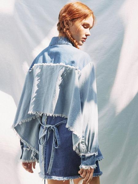 EYEYE Color Combination Washing Denim Blouse - Blue