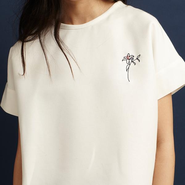 Nikki Chasin Decade Embroidered Flower Ottoman T