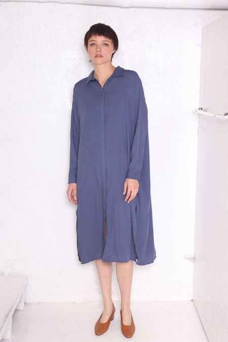 """INTENTIONALLY __________."" Gib Shirt Dress - Blue"