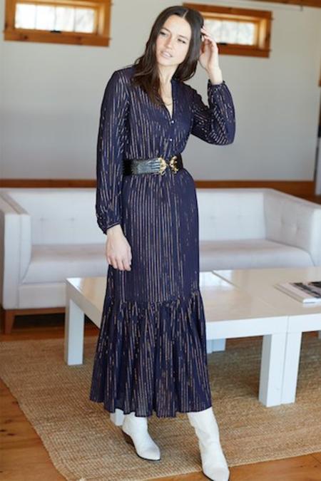 Emerson Fry Maritime Gold Lurex Frances Dress - Navy/Metallic Stripe