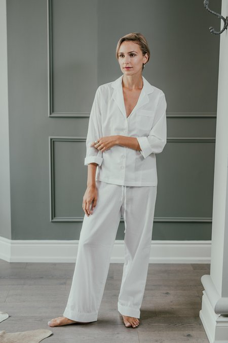 KIP. Sleepwear PJ Set - White Jacquard
